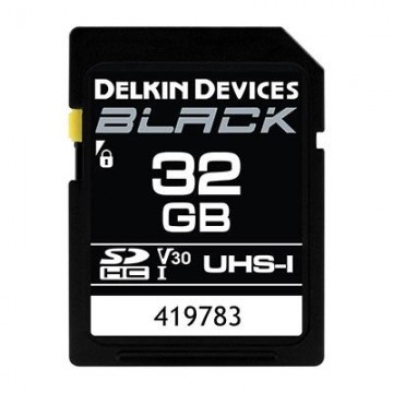 Delkin BLACK 32GB UHS-I V30 U3 90MB/s SDHC Card